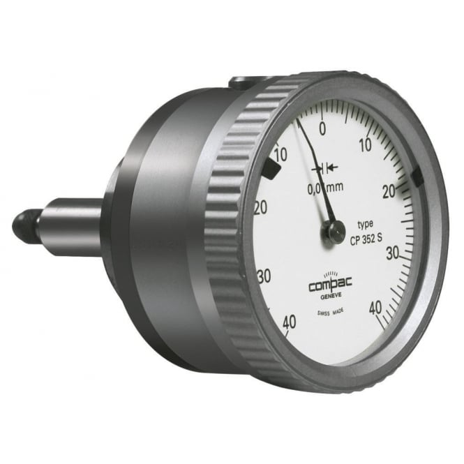 Compac CP352S - Analoge dial gauge with back mounted plunger CP352S with limited travel, Range - ±0.4mm