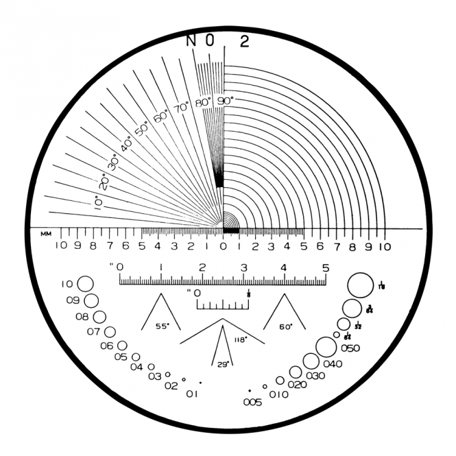 Mitutoyo 183-103 - Angle, Radius, Length, Diameter Reticle