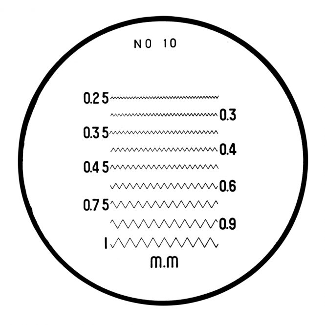 Mitutoyo 183-111 - Thread Pitches (Metric) Reticle (No. 10)